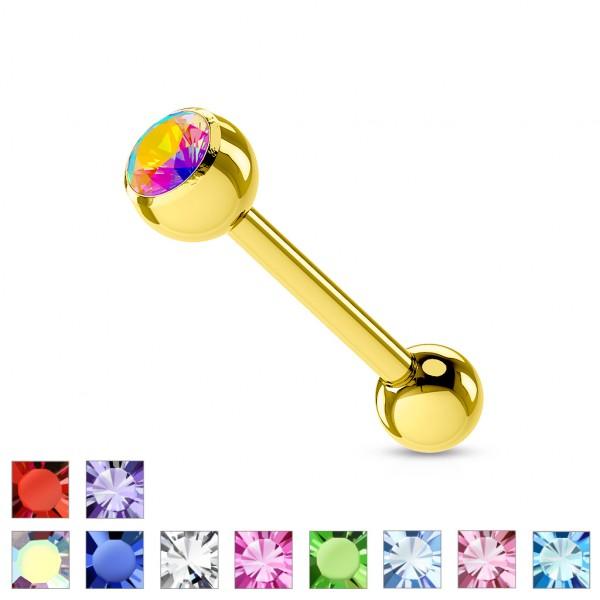 Zirkona Zungenpiercing Farbe Gold