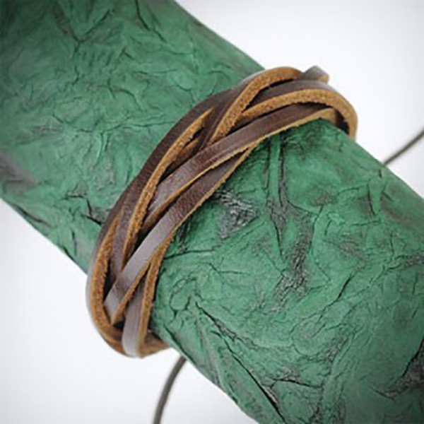 Geflochtenes Lederarmband 5 Bänder Braun