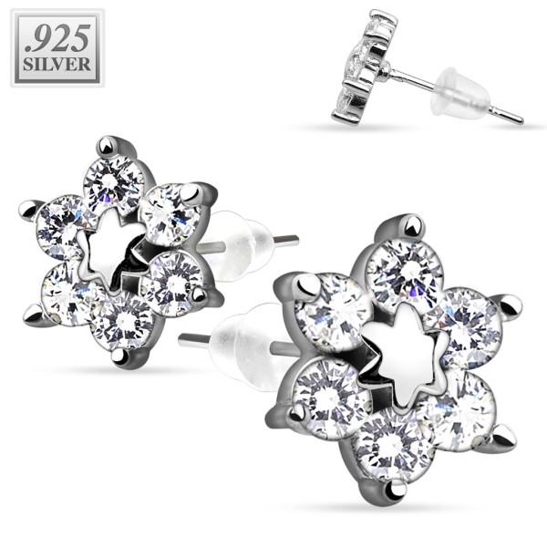 1 Paar Ohrringe Stern Zirkonia Stecker Silber 925.