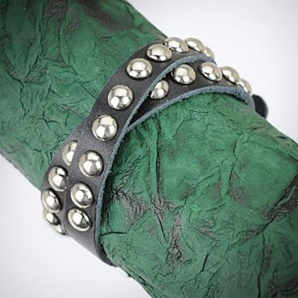 Nieten Armband Leder Schwarz Doppel