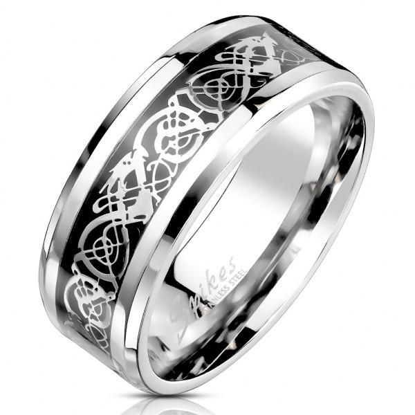 Ring keltischer Drache Schwarz Silber Edelstahl