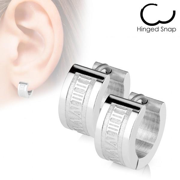 Römisch numerisch graviert Ring 316L Chirurgenstahl Scharnier - Earring (Sold in Pairs)</