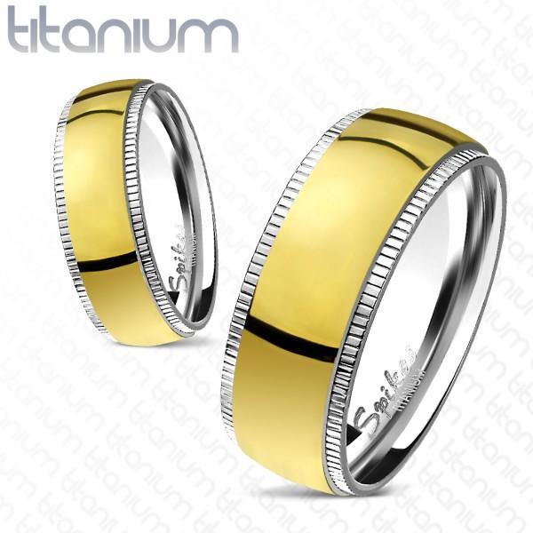 Ring Titan gold Kante gerillt