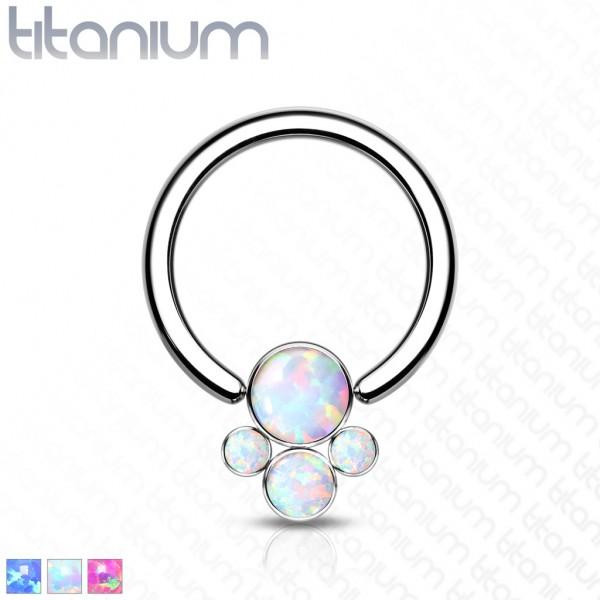 Titan Captive Bead Ring Bezel Opal Pfote Ball CBR Ring Helix Tragus Orbital
