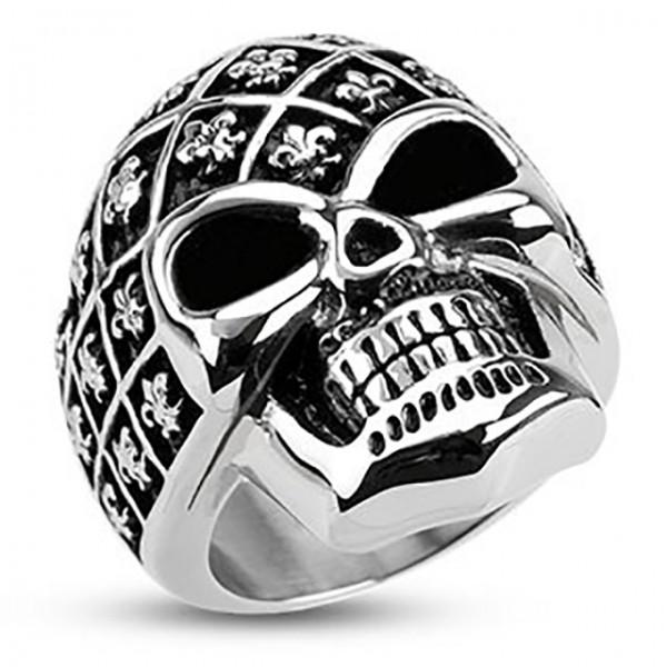 Ring Fleur de Lis Muster Totenkopf Edelstahl