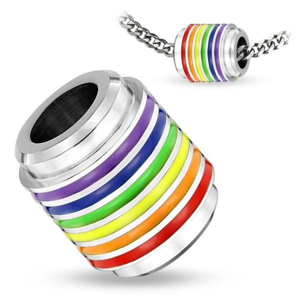Anhänger Silber Regenbogen Farben 316L Stahl