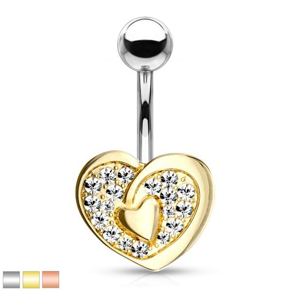 Kristall Herz mit Herz in der Mitte Bauchnabelpiercing