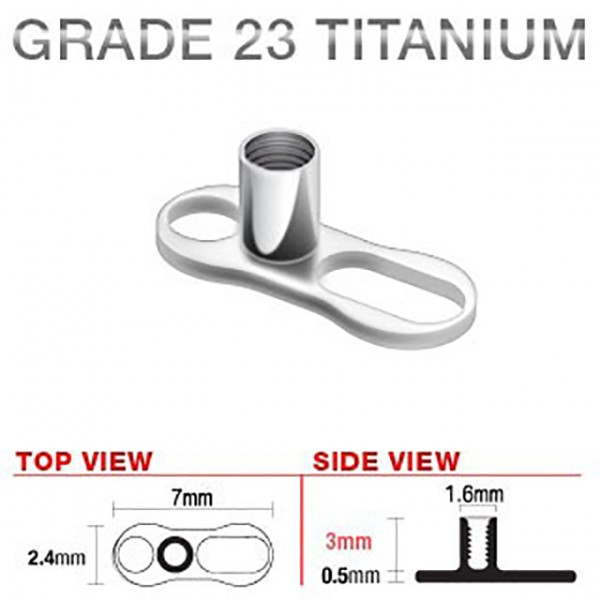 2 Loch 3mm Dermal Anchor G23 Titan