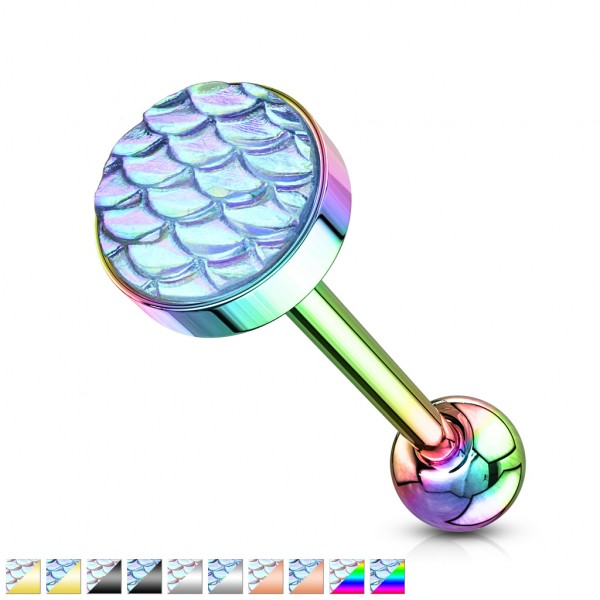 Flacher Stein mit Fischschuppen Regenbogen Effekt Hantel Barbell