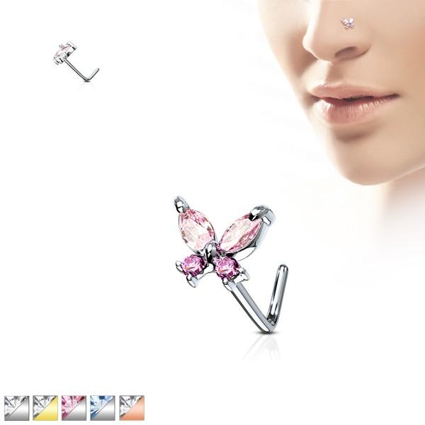 Schmetterling Nasenpiercing Nasenring L-Form 316L Stahl
