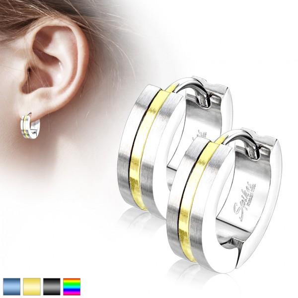 ein Paar runde Ohrringe mit goldener gestreifter Mittelfläche, rostfreier Stahl