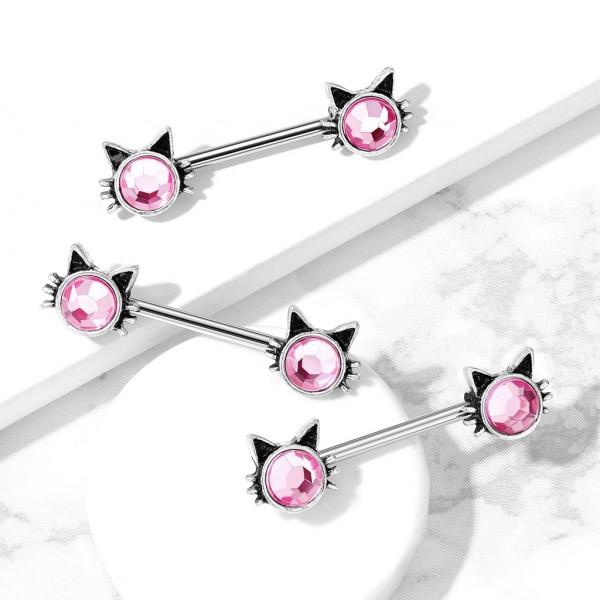 Katze mit pinken Steinen an beiden Enden Nippelpiercing Hantel Barbell