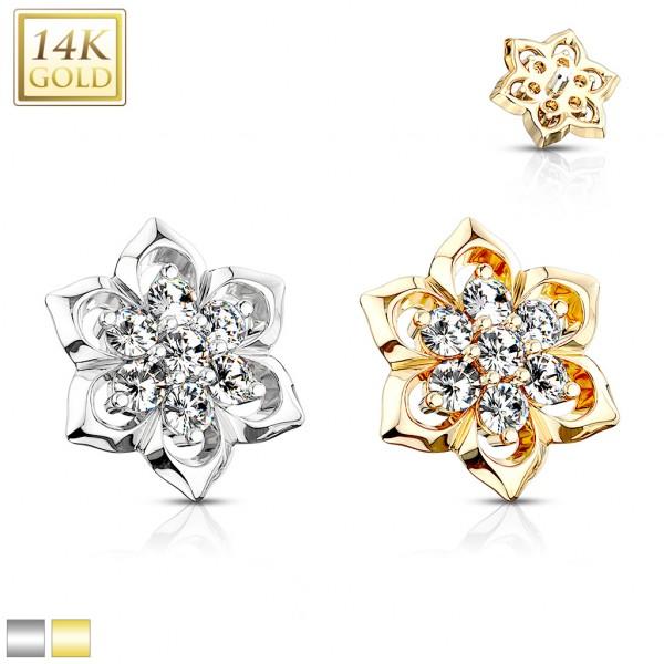 14 Karat Echtgold Blume mit 7 Kristallen Dermal Anchor