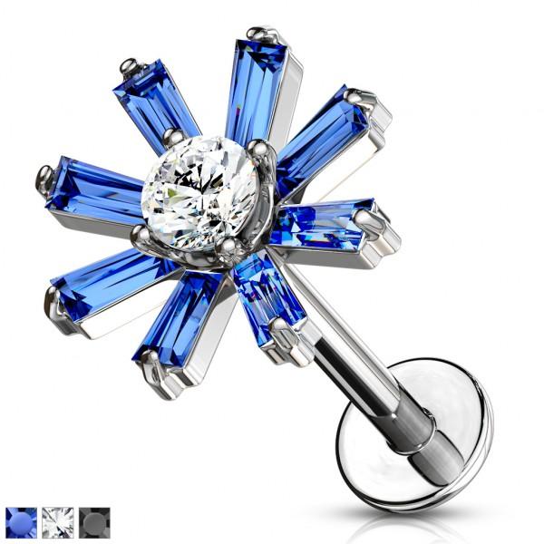 Kristall längliche Blüten Innengewinde Monroe Ohrpiercing