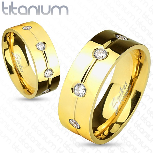 Ring gold Kristallbesetzt Titan