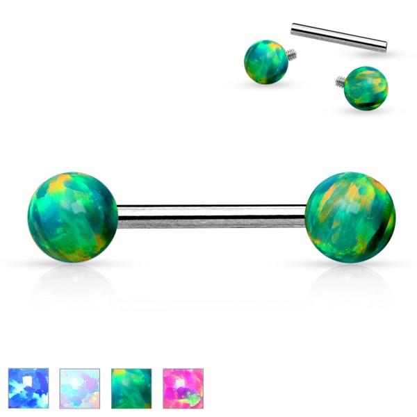 Opal Kugeln Hantelpiercing Intimpiercing Brustwarzenpiercing Nippel Piercing Zirkonia Stahl 316L