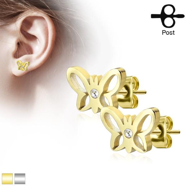 Schmetterling Kristall Ohrstecker 316L Chirurgenstahl gold