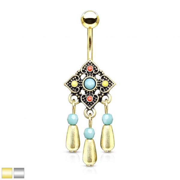 Tribal Quadrat Blume mit Türkis mittig und hängenden Perlen Bauchnabelpiercing