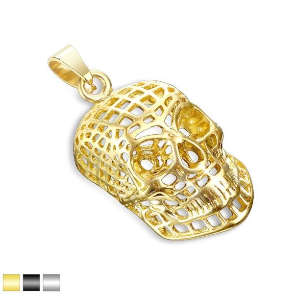 Totenkopf Gold Anhänger Stahl