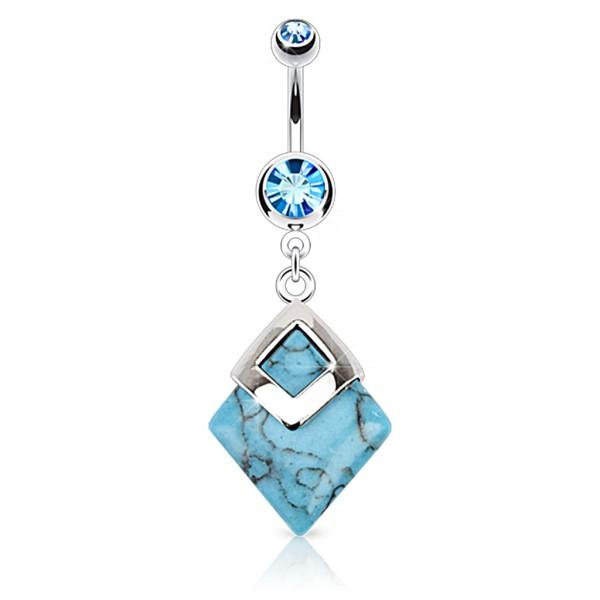 Türkiser Diamant Bauchnabelpiercing