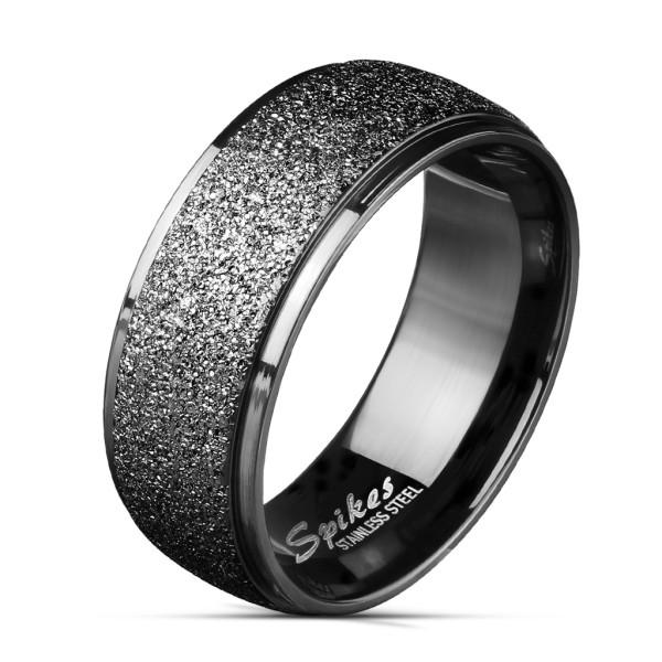 Ring schwarz Sand abgeschrägte Kanten Edelstahl