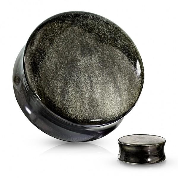 Obsidian Naturstein Double Flare Flesh Plug Gold Schimmer