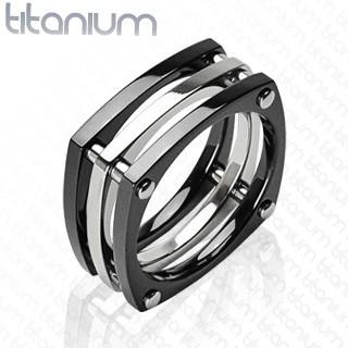 Ring quadratisch schwarz Schrauben Titan
