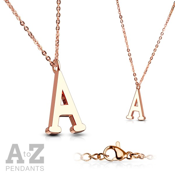 Alphabet Buchstabe Anhänger Kette Rosegold 316L Stahl