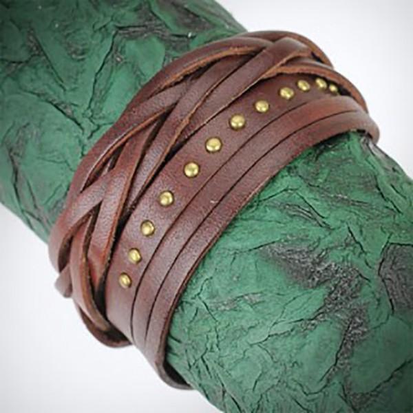 Geflochtenes Lederarmbadn Braun mit Goldenen Niete
