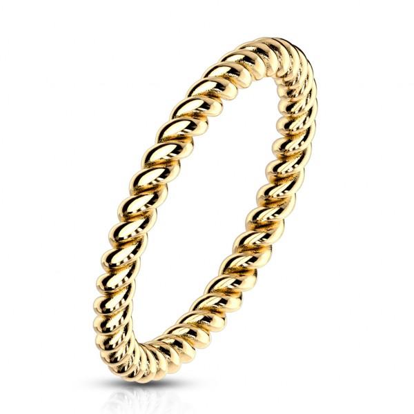 Ring gold geflochten Edelstahl
