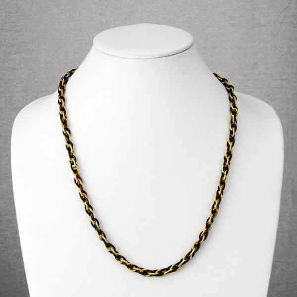 Schwarz und Gold plattiert Tri-Link Kette Ring 316L Chirurgenstahl