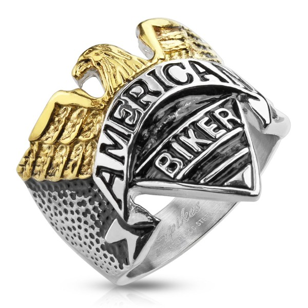 """Ring Adler """"American Biker"""" Gravur Edelstahl"""