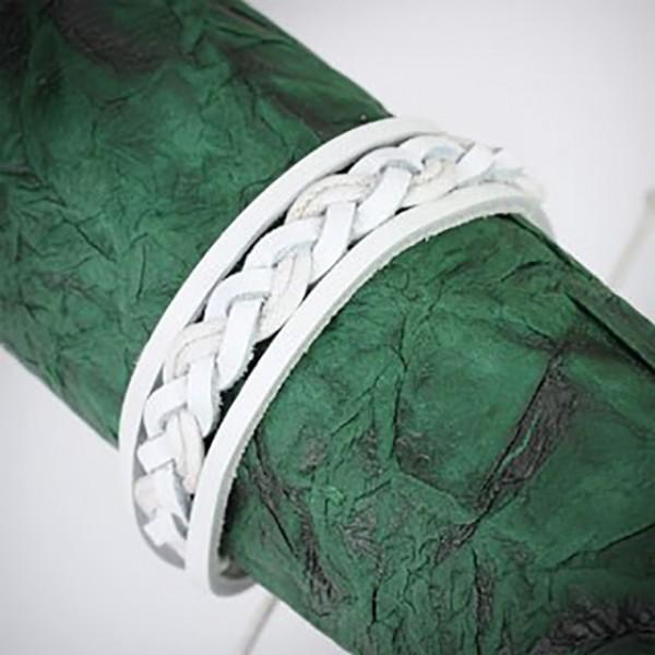 Lederarmband Weiß geflochten Knoten Verschluss