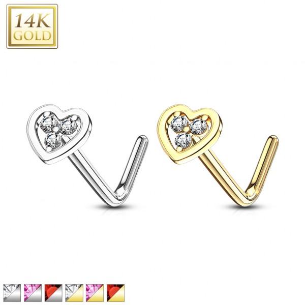Herz Nasenpiercing L-Form mit 3 Kristallen hohles Herz 585 Echtgold 14 Karat L-Form