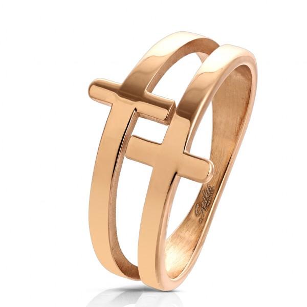 Ring 2 Kreuze rosegold Edelstahl