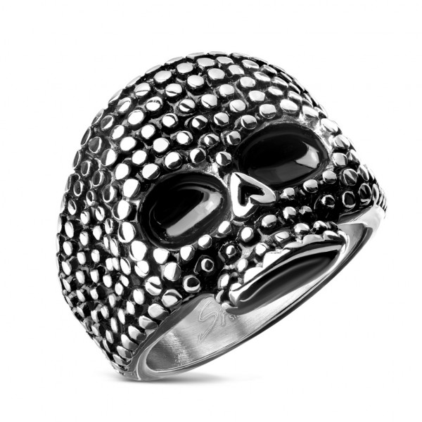 Ring Totenkopf Schwarz Silber Edelstahl