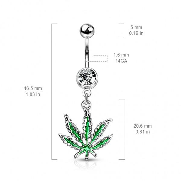 Marihuana Blatt Zirkonias Bauchnabelpiercing