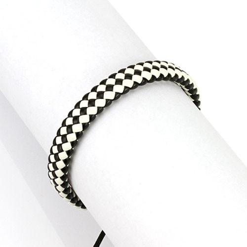 Lederarmband Schwarz Weiß geflochten verstellbarer Verschluss