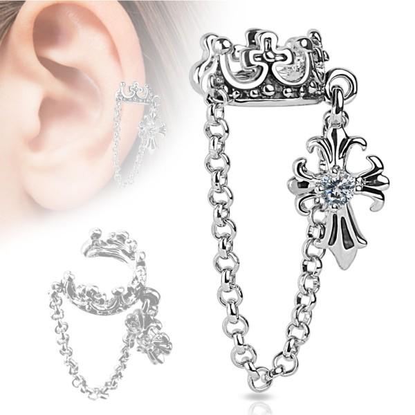 Krone mit Kette Helix Ohrring Ear Cuff Fake Piercing Stecker