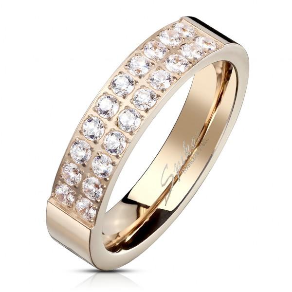 Ring 20 Kristalle Rosegold Edelstahl