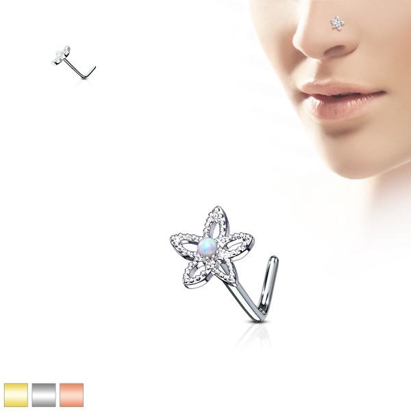 Blume Opal Zirkonia Nasenpiercing Nasenring L-Form 316L Stahl