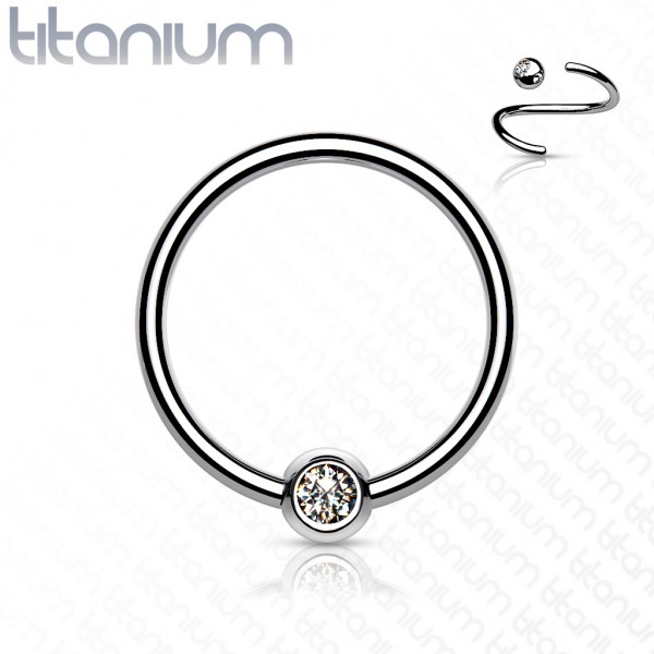 Titan Captive Bead Ring Bezel Zirkonia Ball CBR Ring Intim Orbital Labia