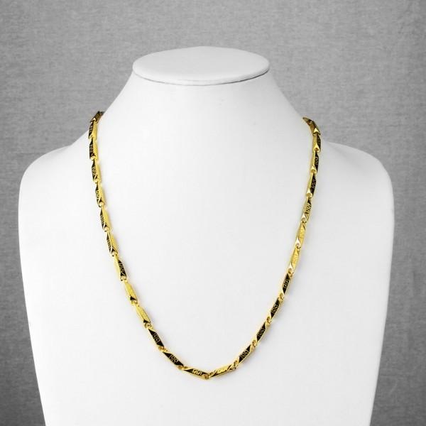 Labyrinth gemustert rechteckig Kettenglieder Gold plattiert Edelstahl Kette Halskette