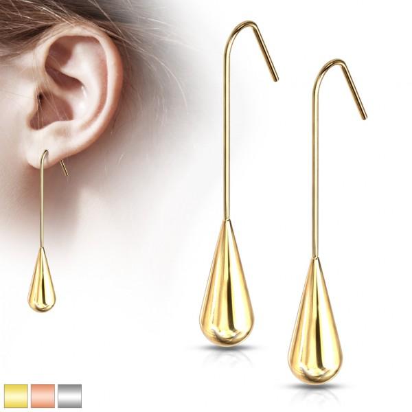 ein Paar Ohrringe aus langen, hängenden Tränen, 316L rostfreier Stahl
