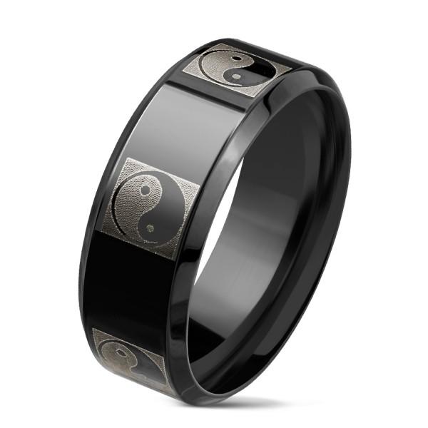 Ying Yang Logo auf schwarzem Ring rostfreies Stahl