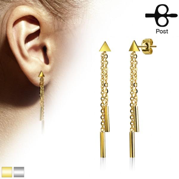 Ohrringe Ohrstecker Paar Dreieck hängende Kette 316L Stahl