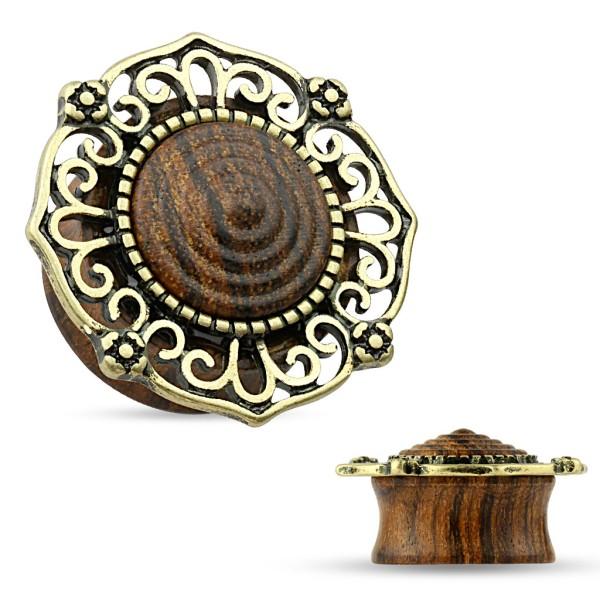 Antik Gold Flesh Plug Organic Holz Plug