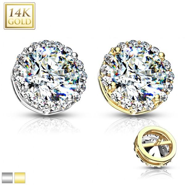 14 Karat Echtgold Kugel Dermal Anchor mit großem Kristall in der Mitte umrundet von Kristallen