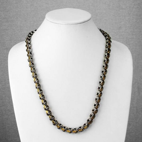 Labyrinth Kette Kettenglied Gold plattiert - Halskette Edelstahl