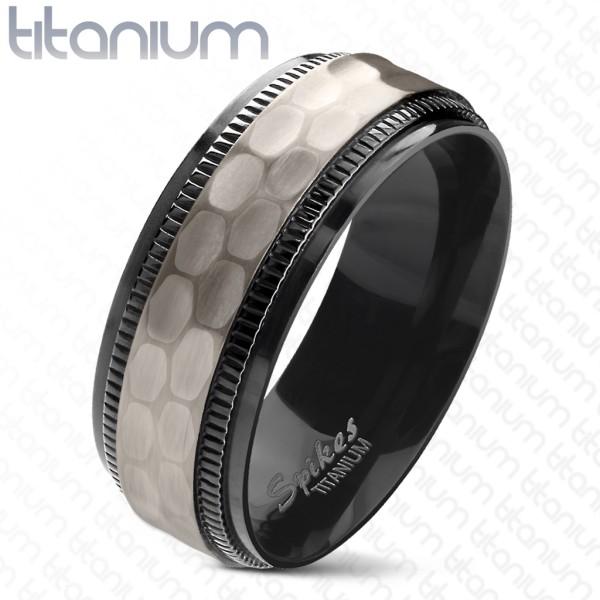 Ring schwarz PVD beschichtet zweitönig Titan